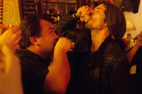 THE D TRAIN - 2015 FILM STILL - Jack Black (Dan Landsman) and James Marsden (Oliver Lawless) - Photo Credit:  Hilary Bronwyn Gayle.  An IFC Films release.