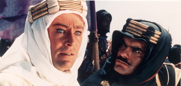 Headshot of Irish actor Peter O'Toole (L) and Egyptian-born actor Omar Sharif in a still from the film, 'Lawrence of Arabia,' directed by David Lean, 1962. (Photo by Columbia Pictures/Courtesy of Getty Images)
