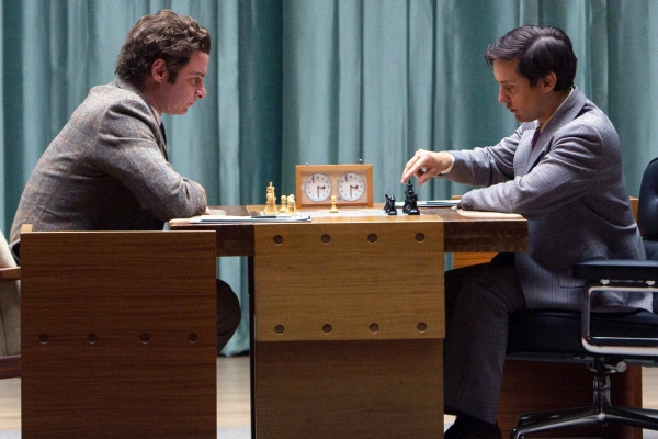 FILM STILL - PAWN SACRIFICE - Liev Schreiber (left) stars as Boris Spassky and Tobey Maguire (right) stars as Bobby Fischer in Edward Zwick's PAWN SACRIFICE, a Bleecker Street release. Date Added 8/4/2015 3:25:00 PM Addtl. Info Credit: Takashi Seida